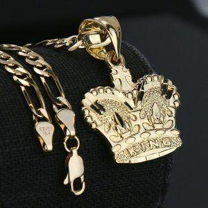 "King 14k Gold PT Pendant 5mm 24"" Necklace Chain"